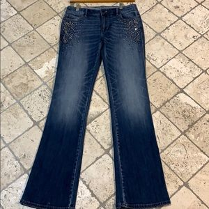 Beaded Medium Blue Bootcut Jeans